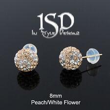 14k Yellow Gold 8mm Peach White Flower Austrian Crystal Ball Studs Earrings