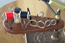 Handcrafted Natural Cherry Wood Fly Tying Tool Caddy Mounts on Vise Shaft.,