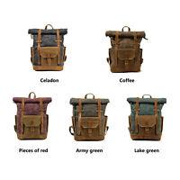 """Vintage Oil Wax Canvas Backpack Waterproof Rucksacks 17"""" Laptops"""