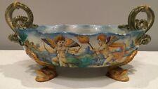 *Rare large painted Antique Italian Majolica Centerpiece Bowl Urn 19th century