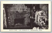 Helenwood Tennessee~Rustic Park~Gift Shop Interior~Fireplace~1940s B&W Litho PC