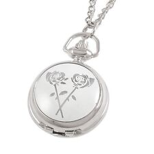 Rose Print Adjustable Time Metal Necklace Pendant Watch for Lady AD
