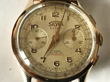 Vintage Chronograph Guilloche Dial Silver Chronographe Suisse Solid 18K Gold