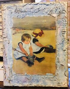 MIXED MEDIA FRAMING VINTAGE BEACH ART CHILDREN PLAYING IN THE SAND ONE OF A KIND