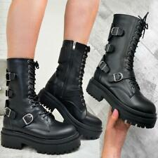 Womens Chunky Strappy Ankle Boots Buckle DIY Plaftorm Sole Punk Goth Biker Shoes