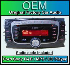 Ford Sony DAB+ car stereo, Ford DAB+ radio CD MP3 player with security code