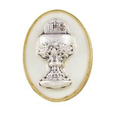 Silver IHS Chalice Medal on White Enamel First Communion Lapel Pin (YT206)
