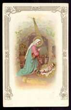 NATIVITY,  CRÈCHE - VIRGIN MARY & CHILD JESUS, STAR OF BETHLEHEM Old HOLY CARD