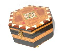 Vintage Inlaid 6-Sided windup Musical Jewelry Box.
