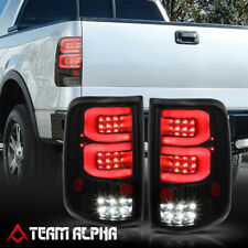 Fits 2004-2008 Ford F150 <DUAL NEON TUBE LED C-BAR> Black/Smoke Tail Light Lamp
