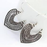 1 Pair Heart shape Vintage Bronze texture Silver Retro Earrings Drop Dangle