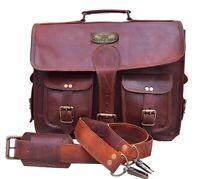 GVB Brand Mens Genuine Vintage Leather Messenger Bag Shoulder Laptop Briefcase