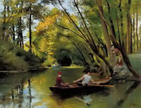 Oil painting Jules Scalbert - the boatmen in summer river landscape hand painted