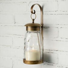 Candle Wall Sconce Mason Jar with Hanging Bracket Antiqued Brass Modern Decor