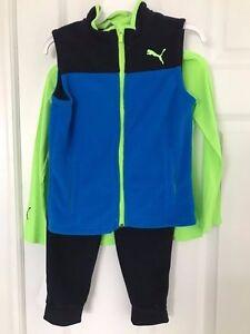 PUMA NWT Boys 3PC Tee Top Shirt Vest Pants Fleece Blue Green 4 5 6