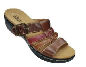 Clarks Women's Size 8M Brown Leather Clog Sandals OpenToe Buckle up #SB