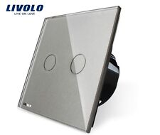 Touch Serienschalter Doppelschalter Grau Kristall Glas Livolo VL-C702-15