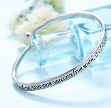 New Brand Wholesale Silver Letter Engraved Bangle Lovers Friendship Bracelet