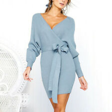 Womens Dress Sexy V-Neck Knitted Sweater Dress  Belted Backless Knitwear Dress