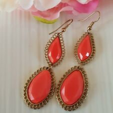 NEW GOLD PLATED CORAL RED GEM HOOK DANGLE STATEMENT EARRINGS