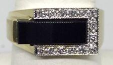 Black Onyx Diamond 1970s Style Mans Ring 14K (J824)