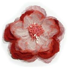 Broche pince bibi soiree cérémonie mariage fleur tissu tulle dégradé rouge blanc
