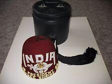 Heavily Jeweled 1989 Vintage Shriner Fez Hat INDIA Camel Tassel With Rhinestones