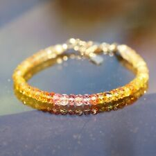 "Lab Made Ombre Yellow Pink Sapphire Bracelet 14k Yellow Gold Filled 7"" - 7 2/3"""