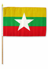 "12x18 12""x18"" Wholesale Lot of 12 (Dozen) Myanmar (Burma) Stick Flag wood staff"
