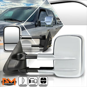 For 97-04 Ford F150 Manual Telescoping Power Chrome Side View Towing Mirror Pair