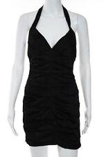BCBG Max Azria Black V-Neck Halter Knee Length Bodycon Dress Size 0 NEW JG04