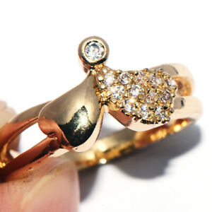 Womens Wedding Engagement Heart Ring Crystal Rings Promise Rings Gold Jewelry 6