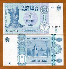 Moldova, 5 Lei, 2015, ex-USSR, P-New, upgraded, UNC