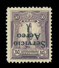 PERU 1927 AIRMAIL- INVERTED Overprinted - 50c violet  Sc# C1a mint MLH  ERROR