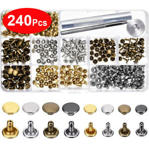 240pcs Double Cap Rivets Leather Craft Accessories Snap Fasteners Buttons Copper