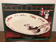 "Pfaltzgraff Christmas ""Snow Village"" Oval Serving Snowman 14"" Platter"