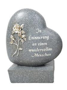Grabschmuck Herz grau | In Erinnerung | Grabdeko Trauerschmuck | Rose | 15x19 cm