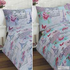 Parisienne Patchwork Eiffel Tower Duvet Quilt Cover Bedding Set & Pillowcases