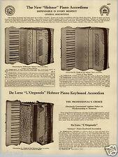 1930 PAPER AD Hohner L'Organola Piano Keyboard Accordion Seth Thomas Metronomes