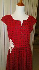 Vintage Red and Black Houndstooth Fit and Flare Dress L