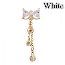 Clear Bow Jewelry Gold Navel Ring Body Piercing Dangle Belly Button