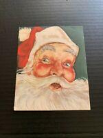 Vintage 1950's Santa Claus Face Christmas Greeting Card