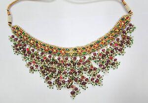 Vintage antique solid 20K Gold jewelry precious gemstones necklace pendant india