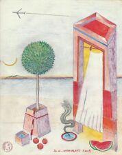 """Dimitris C. Milionis """"AEGEAN BEAST"""" Pencil Drawing Transparent Paper 2003 Greek"""