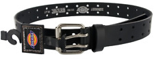 DICKIES MENS 2 HOLE LEATHER WORK BELT DOUBLE PRONG BRIDLE INDUSTRIAL STRENGTH