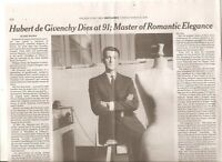 Hubert de Givenchy 91 New York Times Obituary French Designer Audrey Hepburn