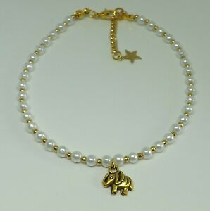 Glass Pearl Beaded Anklet Bohemian Elephant Charm Anklet Beach Anklet Gold Tones