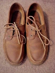 VGC!  SPERRY TOP-, MEN'S SZ 13 M, BROWN LEATHER, ALL-LEATHER BOAT SHOES