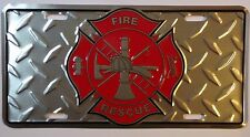 FIREMAN LICENSE PLATE - FIREFIGHTER CAR TAG - FIRE AND RESCUE - MADE IN USA