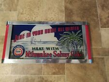 1930s MILWAUKEE SOLVAY COKE Coal Home Fuel reverse on glass advertising sign